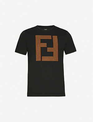 FENDI Logo-applique cotton-jersey T-shirt