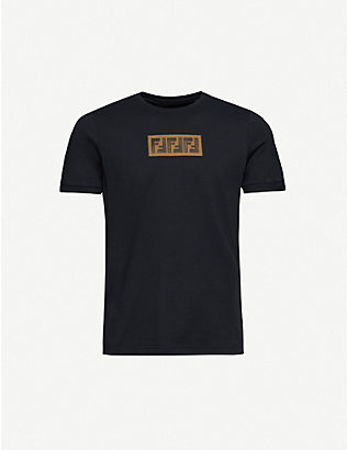 FENDI: Logo-appliqué crewneck cotton-jersey T-shirt