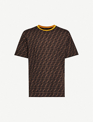 FENDI Logo-print crewneck cotton-jersey T-shirt