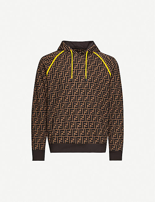 FENDI: Logo-print contrast-piping cotton-jersey hoody