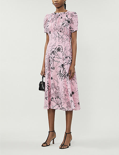 LES REVERIES Floral-print silk midi dress