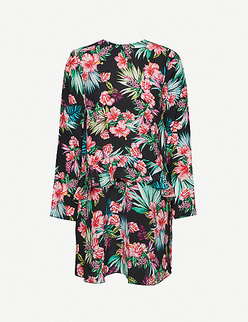LES REVERIES: Floral-print silk mini dress
