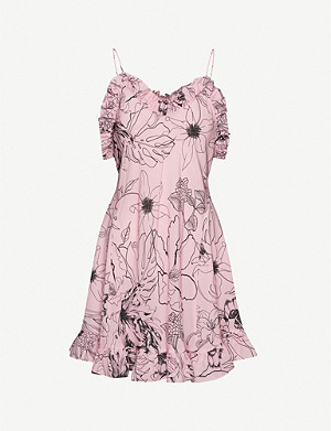 LES REVERIES Ruffle silk mini dress