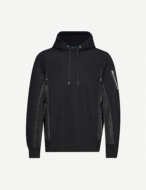 SACAI MA-1 panelled jersey and shell hoody