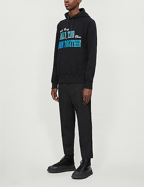 SACAI Graphic-print cotton-jersey hoody
