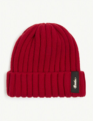 BORSALINO Cable knit cashmere beanie hat
