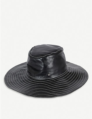 MAISON MICHEL: Lauren embroidered leather fedora hat