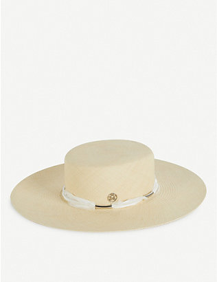 MAISON MICHEL: Mini Ursula wide-brimmed straw hat