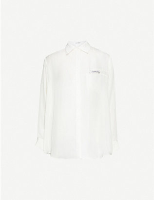 KIMHEKIM: Label logo-appliqué loose-fit crepe shirt