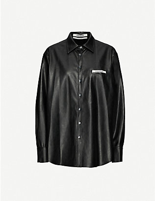 KIMHEKIM: Label loose-fit faux-leather shirt