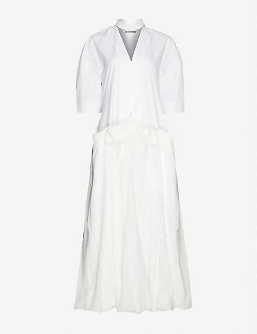 JIL SANDER Milan mandarin-collar cotton midi dress