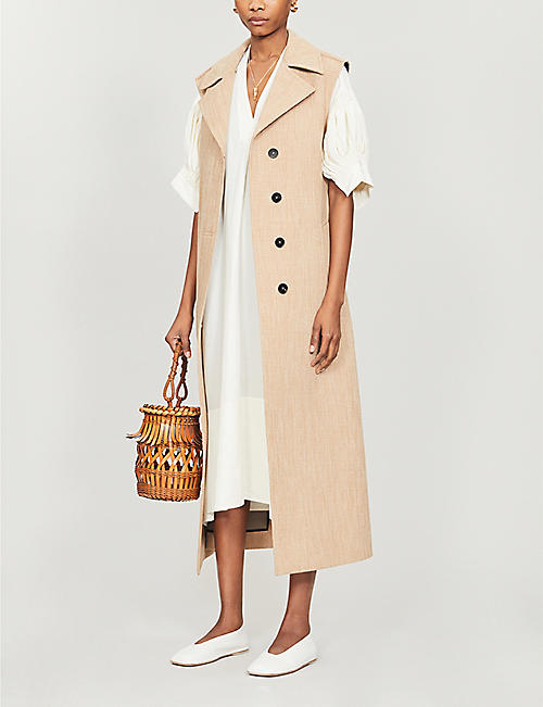 JIL SANDER Mela V-neck ruched-sleeve woven midi dress