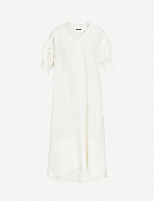 JIL SANDER: Mela V-neck ruched-sleeve woven midi dress