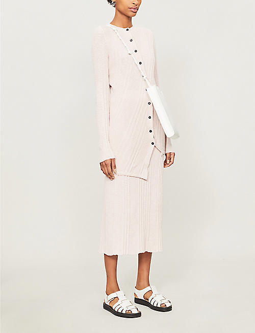 JIL SANDER Asymmetric-hem cotton-knit cardigan