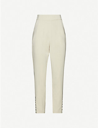 LAVISH ALICE: Corset-detail high-rise woven tapered trousers