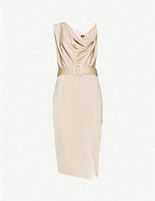LAVISH ALICE: Cowl-neck satin-crepe midi dress