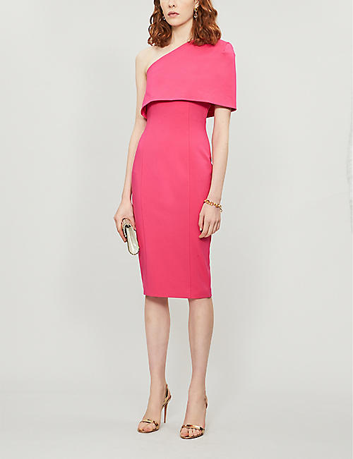 LAVISH ALICE One-shoulder capped-sleeve woven midi dress