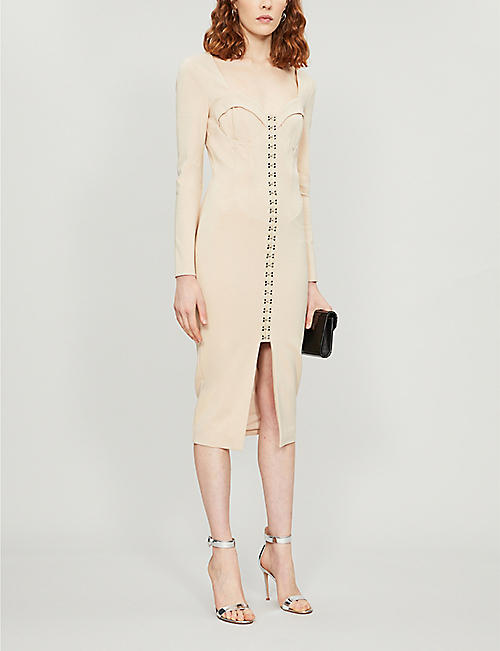LAVISH ALICE Hook-and-eye square-neck woven midi dress