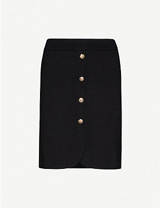 CLAUDIE PIERLOT: Manue woven button-front skirt