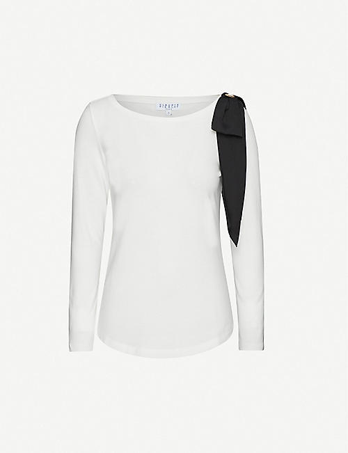 CLAUDIE PIERLOT Timbae bow-embellished crepe top