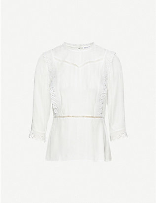 CLAUDIE PIERLOT: Bichettee lace trim crepe top