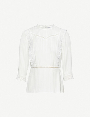 CLAUDIE PIERLOT Bichettee lace trim crepe top