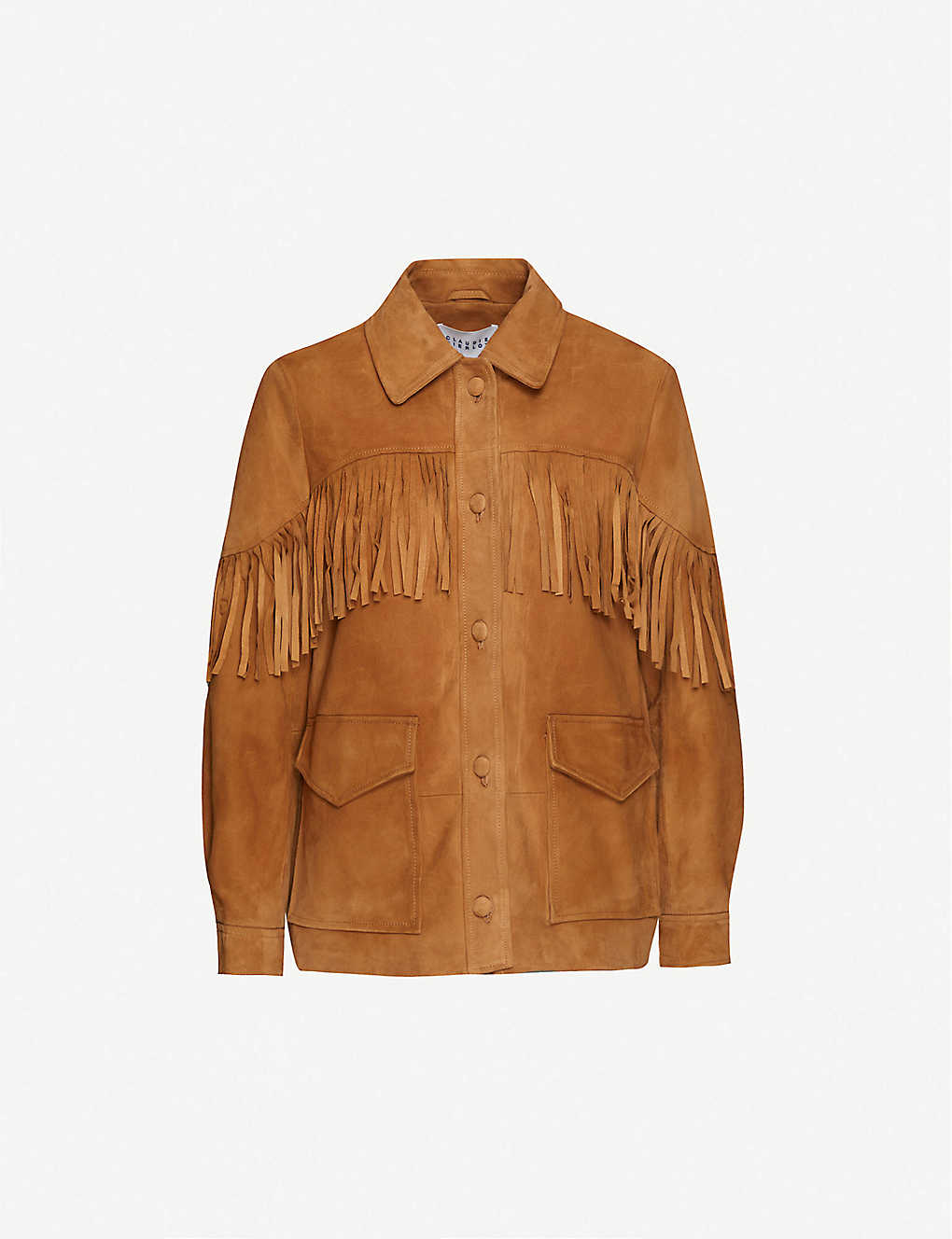 CLAUDIE PIERLOT: Clifford fringed-trim suede jacket