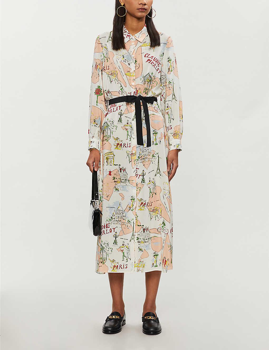 Claudie Pierlot Paris-print Silk-crepe Midi Dress