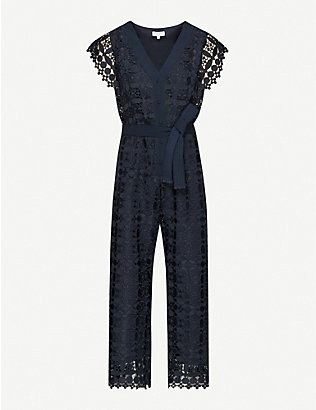 CLAUDIE PIERLOT: Jajae copped wide-leg floral-lace jumpsuit