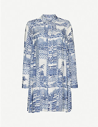 CLAUDIE PIERLOT: Graphic-print woven mini dress