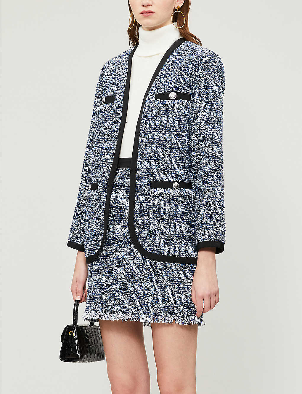 Claudie Pierlot Vadrouille Tweed Blazer In Gray