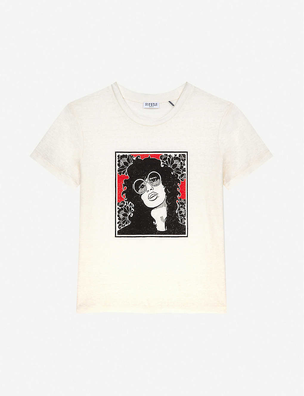 CLAUDIE PIERLOT: Screen-printed linen T-shirt