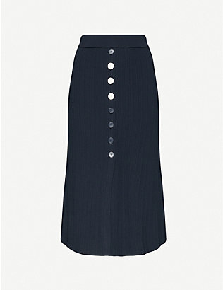 CLAUDIE PIERLOT: Ribbed stretch-jersey midi skirt