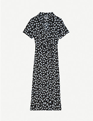 CLAUDIE PIERLOT: Floral-print crepe midi dress