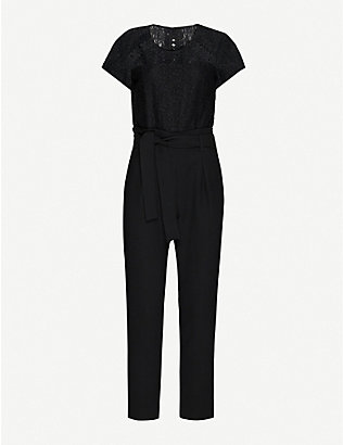 CLAUDIE PIERLOT: Jeannee floral-lace and woven jumpsuit