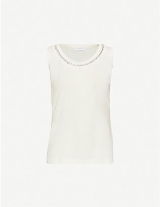 CLAUDIE PIERLOT: Chancee embellished neckline cotton-blend T-shirt