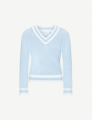 CLAUDIE PIERLOT V-neck cotton-blend jumper