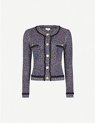 CLAUDIE PIERLOT: Mirabele tweed-effect cotton-blend knitted cardigan