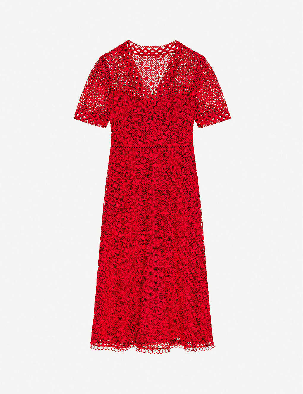 CLAUDIE PIERLOT: Ruliae20 guipure-lace midi dress