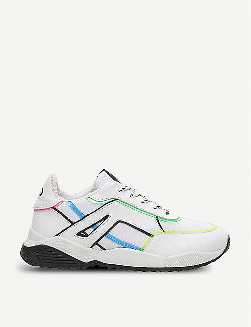 CLAUDIE PIERLOT: Affinity graphic-print leather and mesh trainers