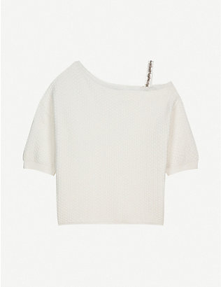 CLAUDIE PIERLOT: Off shoulder embellished-strap cotton top