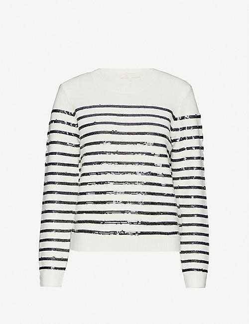 MAJE: Sequin stripe wool-blend jumper