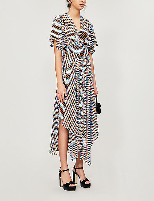 MAJE Richelane graphic-print woven midi dress