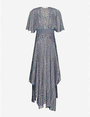 MAJE: Richelane graphic-print woven midi dress