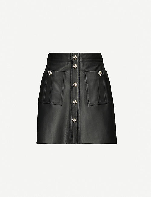 MAJE: Jeate leather mini skirt