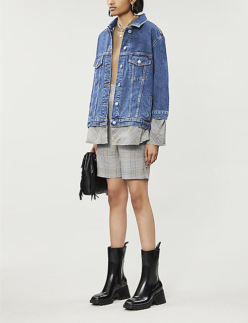 MAJE Checked-underlay denim jacket