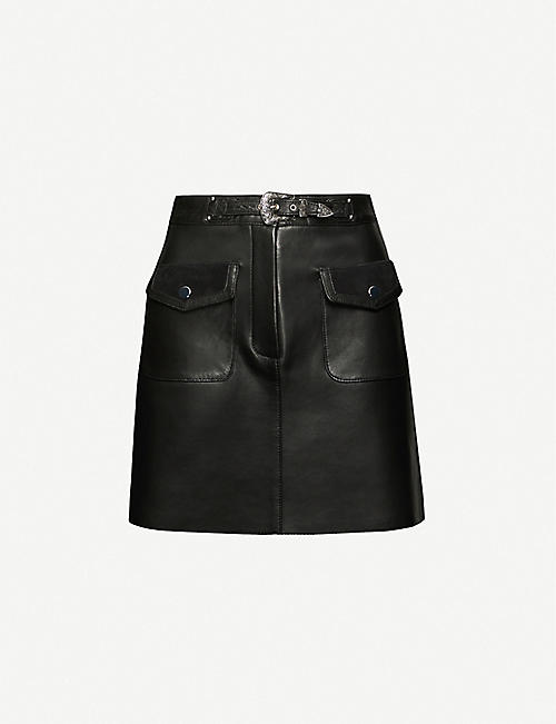 MAJE: Jisa leather mini skirt