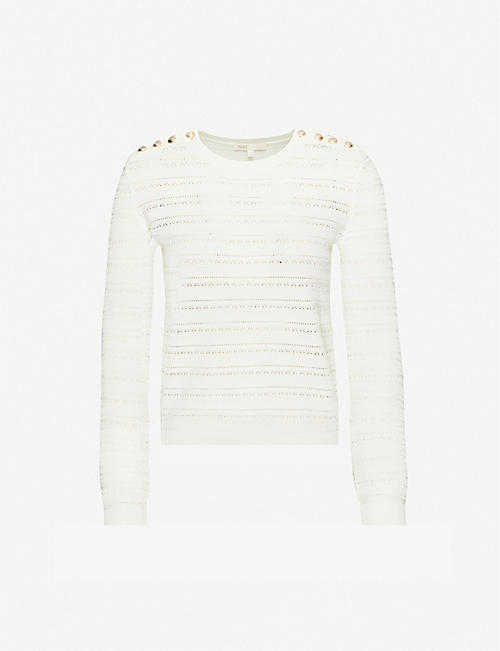 MAJE Crotchet detail knitted jumper