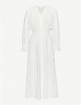 MAJE: Raviane broderie-anglaise woven midi dress