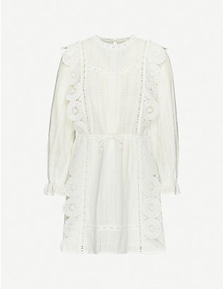 MAJE: Ravia broderie-anglaise woven mini dress